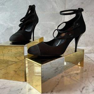 🌹CHANEL Black Satin Mary Jane Heels Size 37